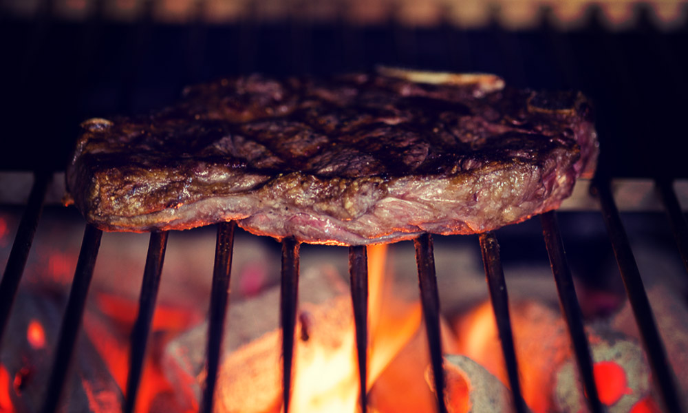 juicy steak sitting in our inka grill